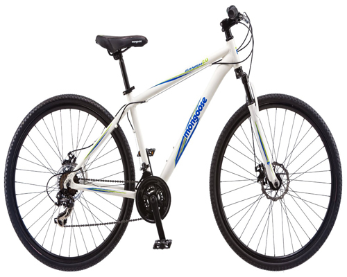 Mongoose Men's Banish 2.0 Hybrid Bike, White, 18-Inch/Medium